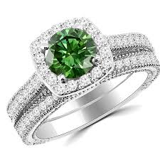 green rings images Green diamond halo engagement wedding ring set antique style jpg
