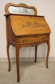 antique larkin oak ladies secretary writing desk cabinet applied