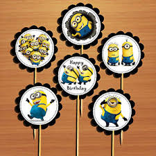 Batman Table Decorations Despicable Me U0027minions U0027 Birthday Cupcake Toppers Picks Table