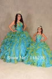 dresses for sweet 15 gown cover picture more detailed picture about blue and green