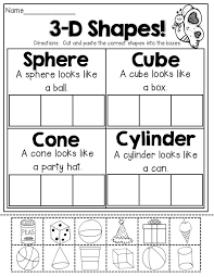 brilliant ideas of kindergarten 2d and 3d shapes worksheets for