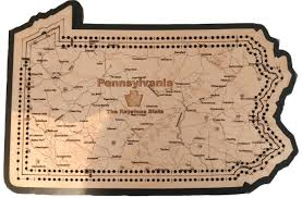 Pennsylvania State Map by Pennsylvania State Shape Map Cribbage Board