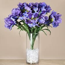 4 large silk iris bushes 36 wedding artificial flowers