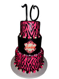 pink zebra striped 10th birthday cake cakecentral com