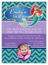 disney princess ariel little mermaid chevron photo birthday invitation