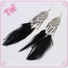 one side feather earring new cool indonesia wholesale jewelry 2017 new fashion one