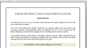 Sle Credit Card Charge Dispute Letter credit or debit card charge dispute letter