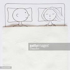 conceptual drawing of a couple in a double bed stock illustration