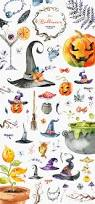 halloween clipart cute collection halloween watercolor collection by octopusartis on