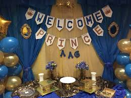 Royal blue and gold baby shower cake table decorations