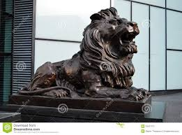 metal lion statue bronze lion statue or sculpture stock image image of hsbc