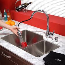 Red Kitchen Faucet Stainless Steel Kitchen Sink Combination Kraususa Com