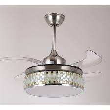 Ceiling Fan With Led Light 36 92cm Retractable Blade Folding Ceiling Fan Light 3 Led Colours