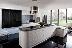 awesome black and white kitchen design with glass wall and round