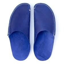 mens leather bedroom slippers blue leather slippers for men and women by cp slippers