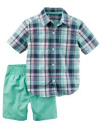 Easter Clothes For Baby Boy 2 Piece Plaid Button Front U0026 Canvas Short Set Carters Com