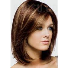 lob hair with side fringe deep side part fringes lob hairstyle synthetic mono wigs 12 inches