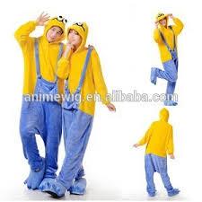 Cheap Halloween Costumes Pajamas Minions Wholesale Kartoon Sleepwear Flannel Unisex Minion Animal