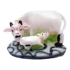 Cow Home Decor Marble Look Cow N Calf Idol Kamdhenu Cow And Calf Statue Mahadev