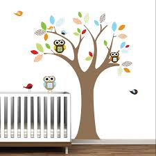 Nursery Owl Wall Decals Charming White Wooden Baby Crib On Wood Floors Also Cool Owl Wall