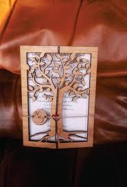 Engraved Wedding Invitations Cherry Wood Engraved Wedding Invitation Rustic Handmade Wedding