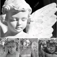 Angel Sculptures Collage With Cemetery Sculptures Of Angels Stock Photo Picture