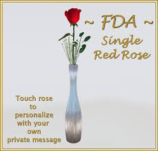 Single Rose In A Vase Second Life Marketplace Fda Single Red Rose In Silver Vase