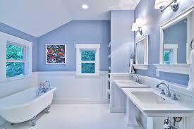 blue and white master bath cottage style craftsman bathroom