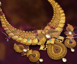 nl7019 one gram antique gold design jewellery jadau kundan