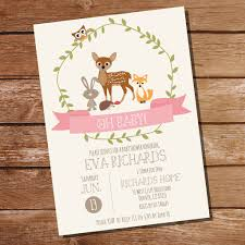 woodland baby shower invitations woodland baby shower invitation for a girl pink baby shower