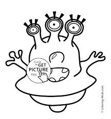 alien with three eyes coloring pages for kids printable free