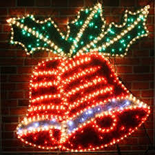 Giant Outdoor Christmas Decorations Uk by Giant Pre Lit Christmas Bells U0026 Holly Led Rope Lights Silhouette