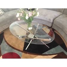 coaster company satin nickel coffee table zila contemporary brushed nickel oval coffee table with glass top