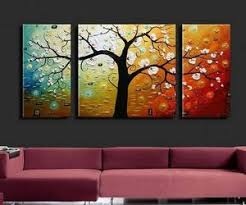 painting for kitchen 3 piece abstract art tree of life painting canvas painting large