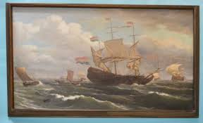nautical painting large nautical 19th century oil painting by louis barnaba