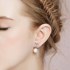 earring studs silver butterfly pearl stud earrings ewaer030 as low