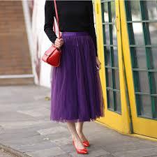 purple tulle fashion purple tulle skirts women satin waistband zipper