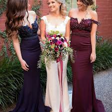 navy bridesmaid dresses fabulous maroon navy bridesmaid dress shoulder mermaid sweep