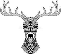 deer head stylized in zentangle style tribal tattoo design