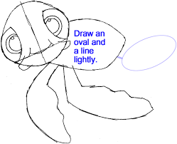 draw turtle finding nemo easy step