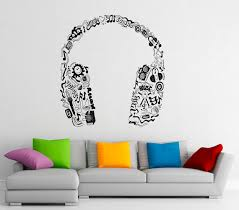 Music Note Home Decor Music Headphones Wall Decal Vinyl Stickers Music Notes Home