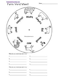 farm animals word wheel printable worksheet enchantedlearning com