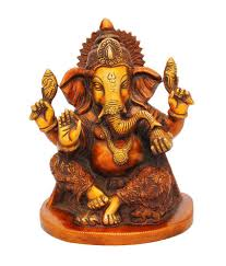 statuestudio ganesh idol red color brass idol antique home