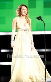 celebrity dresses miley cyrus yellow chiffon prom dress formal