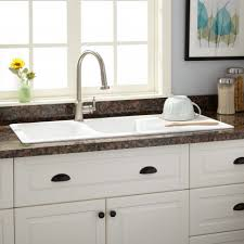 modern kitchen sink with drain boards and chrome faucet kitchen sinks signature hardware