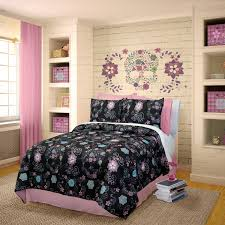 Girls Queen Comforter Pink U0026 Black Floral Skull Bedding For Girls Twin Or Queen