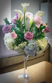 Martini Glass Vase Flower Arrangement Flower Arrangements Brides N Blooms Designs