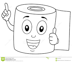 coloring happy toilet paper smiling stock vector image 85529650