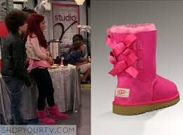 ugg boots australia pink cat grande wears this pink bow back