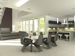 the modern dining room home design dining room with wooden table and black chairs beige